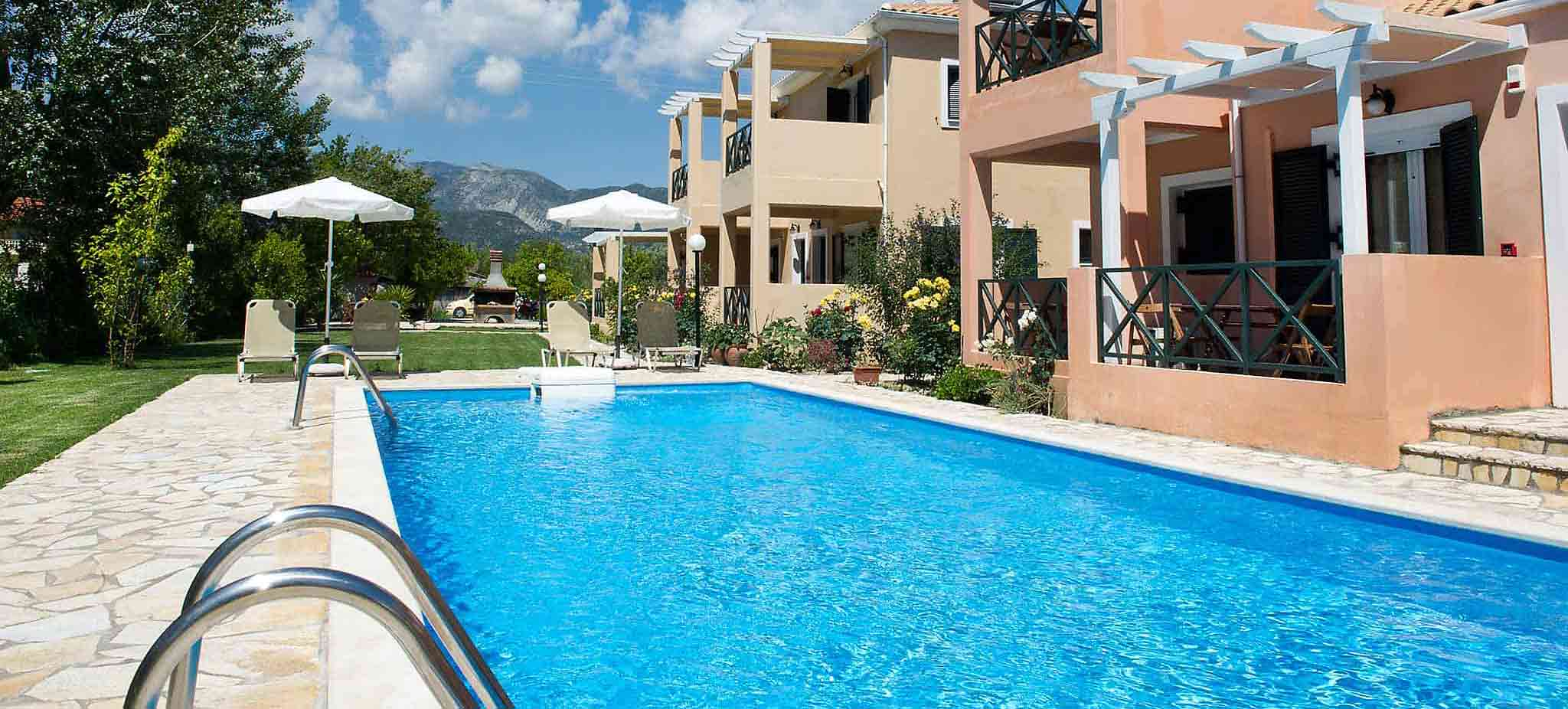 heliotropia houses - the beautiful outdoor pool to use during the day as well as in the evening.